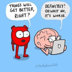 Akward Yeti, The Awkward Yeti, Funny Cartoons, Funny Comics, Heart And Brain Comic, Funny Comic Strips, Funny Illustration, Illustrations, Christian Humor