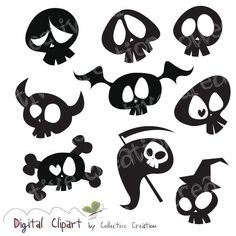 Cute Cartoon Skull Silhouette Clipart Digital Clip Art- Ideal for Scrapbooking, Card Making Cupcake Toppers and Paper Crafts Arts And Crafts For Teens, Art And Craft Videos, Easy Arts And Crafts, Arts And Crafts House, Halloween Illustration, Chalk Marker, Skull Silhouette, Silhouette Vector, Tattoo Caveira