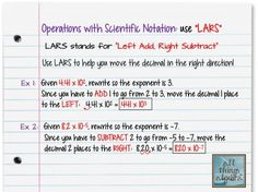 """Operations with Scientific Notation and """"LARS"""""""