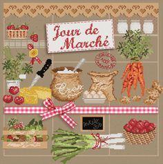 "Grace Work | Rakuten Global Market: Cross stitch Embroidery in France? s market day Jour de Marche ""Madame la Fe Madame La Fee"
