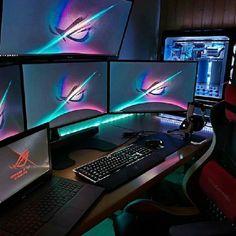 Best Gaming Setup, Gaming Room Setup, Pc Setup, Office Setup, Gamer Setup, Custom Computer Desk, Computer Gaming Room, Computer Desk Setup, Gaming Rooms