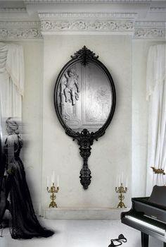 Large black mirror taking center stage