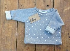 Handmade Unisex Cropped Spot Sweater - Grey & White | Fable Baby