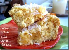 Coconut Cream Cake Batter Blondies