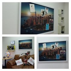 Manhattan view magnetic notice board in white frame. Love your walls with iPosters! #iposters #loveyourwalls #noticeboard #newyork #manhattan #usa #interiordesign #decor #magneticnoticeboard #posters