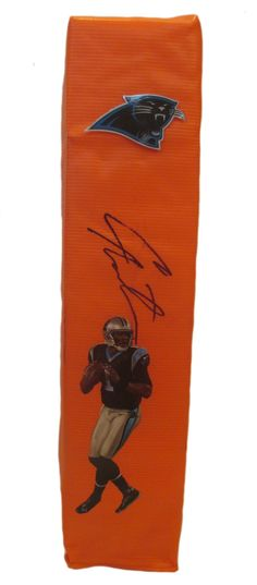 Cam Newton Autographed Carolina Panthers Full Size Photo Football End Zone Touchdown Pylon, Proof