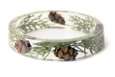 Pine Cone Bracelet Real Dried Cedar Leaves by ModernFlowerChild