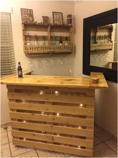 How to make a DIY Pallet Bar? - Is it your friend's birthday or some big event coming up in few days? If yes and you wanted to surprise him then making a DIY pallet bar is a great . Pallet Furniture Bar, Wood Pallet Bar, Wood Pallets, Furniture Ideas, Furniture Nyc, Bar With Pallets, Cheap Furniture, Furniture Design, Furniture Outlet