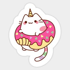 Shop Donut Caticorn unicorn stickers designed by mintcorner as well as other unicorn merchandise at TeePublic. Tumblr Stickers, Anime Stickers, Kawaii Stickers, Cat Stickers, Printable Stickers, Laptop Stickers, Cute Animal Drawings Kawaii, Kawaii Drawings, Easy Drawings