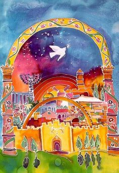 """Michele Pulver Feldman  """"City of Peace"""".  I framed this card & hung it in my foyer."""