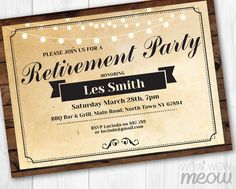 retired party invitation rustic retirement invite by wowwowmeow