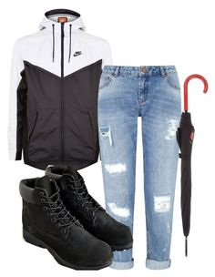 """""""rain day"""" by rabiamiah on Polyvore featuring NIKE, Miss Selfridge, Timberland and Braccialini"""