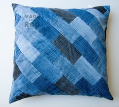 Repurposed Denim Throw Pillow Cover  Patchwork Throw by MadeForRoo