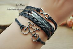Silver Bicycle Moto Infinity  Bracelet Black wax rope by GiftShow, $3.99 Beautiful handmade bracelet, a gift.