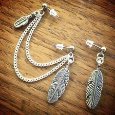 """Feather double piercing earring leaf Brand new ⭐️ FIRM PRICE ❌ Feathers are 1"""" tall Silver plated chain lengths 3"""" & 2 1/2"""" Surgical steel hypoallergenic studs Handmade ❤️ ❤️❤️❤️❤️❤️❤️❤️❤️❤️❤️❤️ Earrings jewelry cute boho cartilage piercings wings bohochic nature dream catcher silver leaves Jewelry Earrings"""