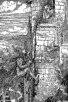 Rapunzel - Black and White Illustration by Louis Rhead from 'Grimm's Fairy Tales – Stories and Tales of Elves, Goblins and Fairies – with Louis Rhead Illustrations' originally published in 1917 Original Fairy Tales, Children's Book Illustration, Book Illustrations, Brothers Grimm, Vintage Fairies, Grimm Fairy Tales, Black And White Illustration, American Artists, Marvel