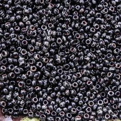 Matte Smoky Black Picasso Size 11/0 Miyuki Rocaille Seed Beads - 15 grams - Black Picasso 11/0 Round Seed Beads - 2089 - 11-4511