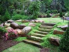 home landscape slope backyard with stones : Sloped Backyard Home Landscape. home landscaping ideas,home landscaping pictures,sloped backyard landscape,sloped backyard landscape ideas,sloped backyard landscaping designs Landscaping With Rocks, Front Yard Landscaping, Landscaping Ideas, Backyard Ideas, Hillside Landscaping, Backyard Designs, Large Backyard, Patio Ideas, Backyard Patio