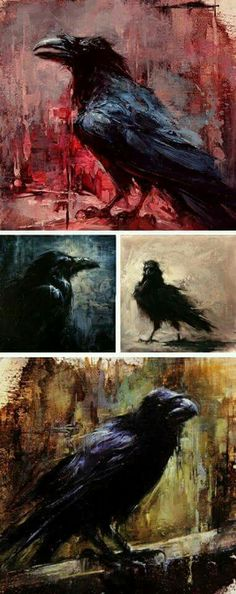 Crow/Raven Art by Lindsey Kustusch very nice collage or collection of artwork from this artist! Crow Art, Raven Art, Bird Art, Crows Ravens, Painting Inspiration, Amazing Art, Kraken, Art Photography, Illustration Art