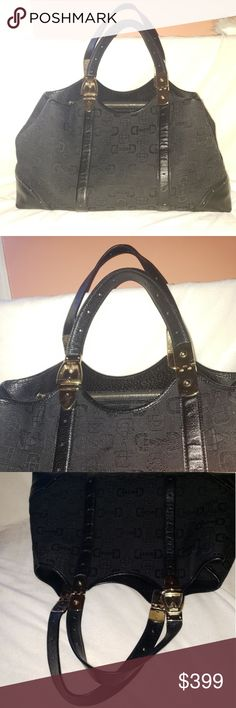 3a5aa238b197ca GUCCI XL Canvas Embossed Large Satchel Tote Bag Such a beautiful bag! Black  on black