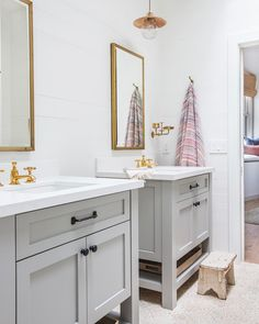 """4,731 Likes, 63 Comments - Amber  Lewis (@amberinteriors) on Instagram: """"Such a cute little Jack and Jill bathroom from #clientohhiojai ... is it inspo enough for me to…"""""""