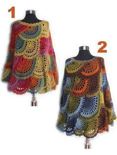 Crochet poncho Multicolor Capelet Boho Poncho Cape   No pattern buy item only.