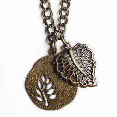 Antique-Bronze-Double-Leaf-Medallion-Pendant-on-Long-Chain