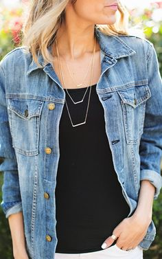 Tri Bar Gold Necklace Ily Couture, Gold Necklace, Vest, Bar, Denim, My Style, Jackets, Clothes, Addiction