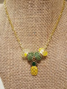 Gold Necklace,  Chain Necklace, Gold Jewelry, Pineapple Necklace, European Bead Necklace, Pendant Necklace, Beaded Charm Necklace by WEEDsByRose on Etsy