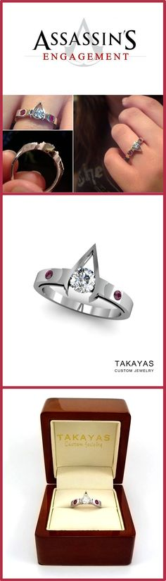 14K white gold Assassins Creed inspired engagement ring with a .50 ct round cut diamond and accent rubies. Custom designed and handcrafted by Takayas Custom Jewelry