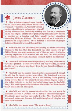 Over 100 Fascinating Facts About U.S Presidents Past and Present Facts About US Presidents James Garfield : Over 100 Fascinating Facts About U.S Presidents Past and Present Facts About US Presidents James Garfield Us History, Women In History, American History, British History, History Facts, Ancient History, Native American, 20th President, President Quotes