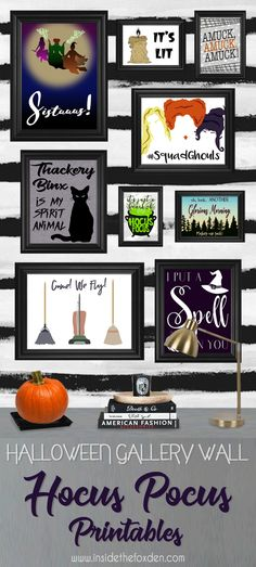 These Hocus Pocus printables are so cute! I love that there are 9 different opti… These Hocus Pocus printables are so cute! I love that there are 9 different options to choose from! Halloween School Treats, Halloween Door, Halloween Movies, Couple Halloween Costumes, Easy Halloween, Holidays Halloween, Halloween Crafts, Halloween Party, Hocus Pocus Halloween Decor
