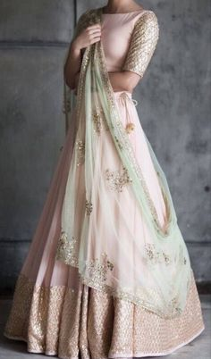 Peach and mint green lehenga blouse indian bridesmaid outfit indian designer lengha skirt blush peach wedding dress summer bridal wear - Party Wear Indian Dresses, Indian Bridal Outfits, Indian Gowns Dresses, Dress Indian Style, Indian Bridal Wear, Indian Designer Outfits, Pakistani Outfits, Indian Reception Outfit, Indian Designers