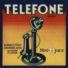 Telefone Brand citrus fruit crate label, Dundee, Florida