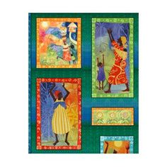 PANEL AFRICANO DE JULIA CAIRNS http://www.gloriapatchwork.com/tienda/paneles-varios/7086-panel-africano-multicolor-en-seis-cuadros.html
