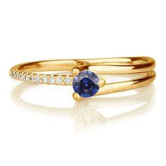 Sapphire Engagement Ring 14k Unique Yellow Gold by DiamondsMine, $490.00