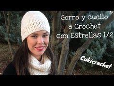 CONJUNTO DE INVIERNO A CROCHET: 1/2 GORRO Y CUELLO CON ESTRELLAS. PARA DIESTR@S - YouTube