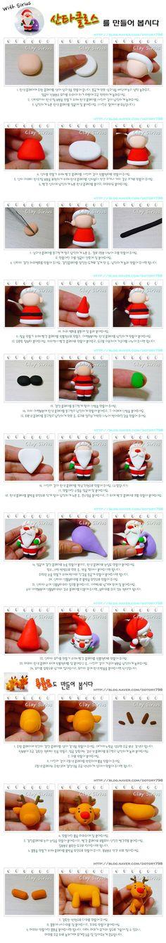 santa claus and reindeer figurine