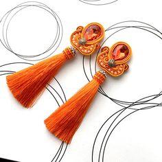 Orange Soutache Earrings Extra Long Earrings Tassel
