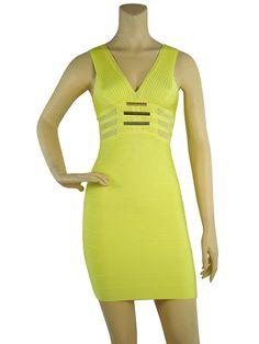 Herve Leger Sleeveless V Neck Metal Embellished Bandage Yellow Dress