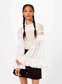 PREMIUM Embroidered Bell Sleeve Blouse