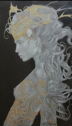 'The White Shell' - original pencil drawing with gold ink & white chalk detailing.