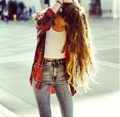 High waisted jeans, white tank, plaid button up. Everyday look. #best