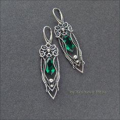Strukova Elena - авторские украшения - Серьги с изумрудно-зелёным кварцем