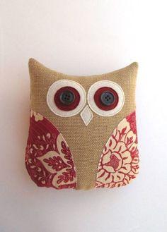 animal pillow owl pillow decorative burlap by whimsysweetwhimsy, Animals Burlap Owl, Burlap Pillows, Cute Pillows, Sewing Pillows, Decorative Pillows, Throw Pillows, Burlap Projects, Burlap Crafts, Fabric Crafts