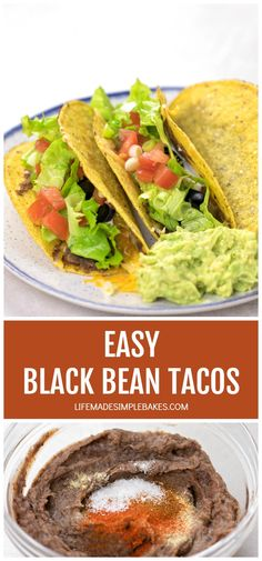 Black Bean Tacos are crunchy and chalk full of flavor...did I mention easy?! Ready in minutes for those busy nights. #blackbeantacos #tacos #blackbeans #easyblackbeantacos