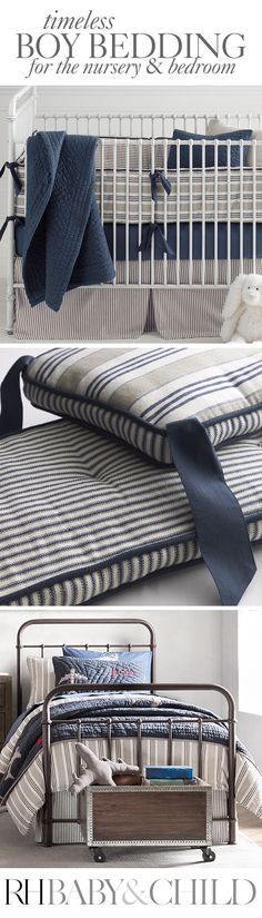 Tailored from pure cotton with classic yarn-dyed stripes, our bedding has the timeless appeal of vintage ticking and the softness of heirloom bedding. Shop the Vintage Ticking bedding collection for nursery or bedroom at RH Baby & Child.