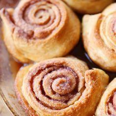 Baby Cinnamon Buns Recipe Desserts, Breakfast and Brunch, Breads with crescent rolls, softened butter, brown sugar, white sugar, cinnamon, powdered sugar, heavy cream, vanilla