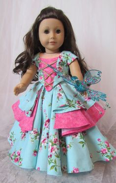 American Girl Dolls : Image : Description Aqua and Pink Bella Rose Ball Gown for 18 American Girl Dolls by HannaReeseDD Sewing Doll Clothes, Girl Doll Clothes, Doll Clothes Patterns, Girl Dolls, Ag Dolls, Barbie Clothes, Doll Patterns, Dress Patterns, American Girl Crafts