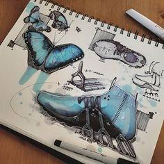 Animal Inspiration for Product Design Morpho Butterfly, Blue Morpho, Mise En Page Portfolio, Portfolio Design, Sketch Design, My Design, Estilo Fitness, Industrial Design Sketch, Sketch Markers
